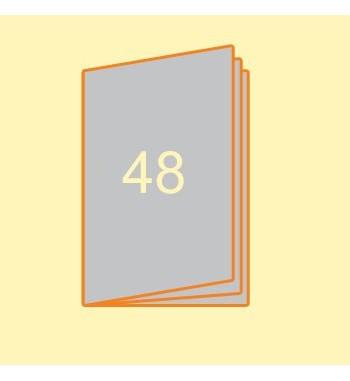 Broschüre A4 hoch, 48 Seiten